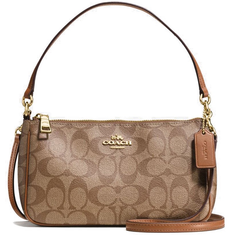 Coach Messico Top Handle Pouch In Signature Crossbody Bag Saddle Brown / Khaki # F58321
