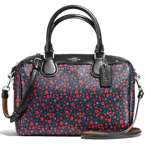Coach Mini Bennett Satchel In Ranch Floral Print Coated Canvas Silver / Bright Red # F59445