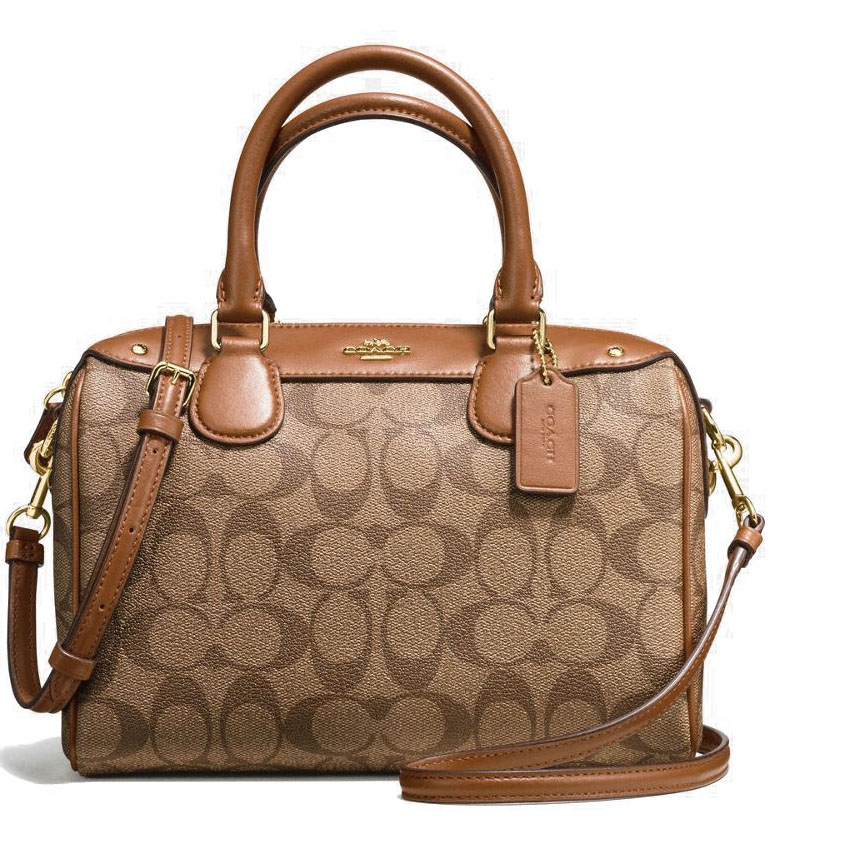 Coach Mini Bennett Satchel In Signature Gold / Khaki / Saddle Brown # F58312