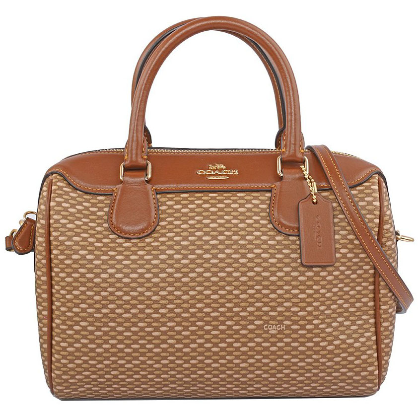 Coach Mini Bennett Satchel With Legacy Print Crossbody Bag Neutral Brown / Gold # F29669