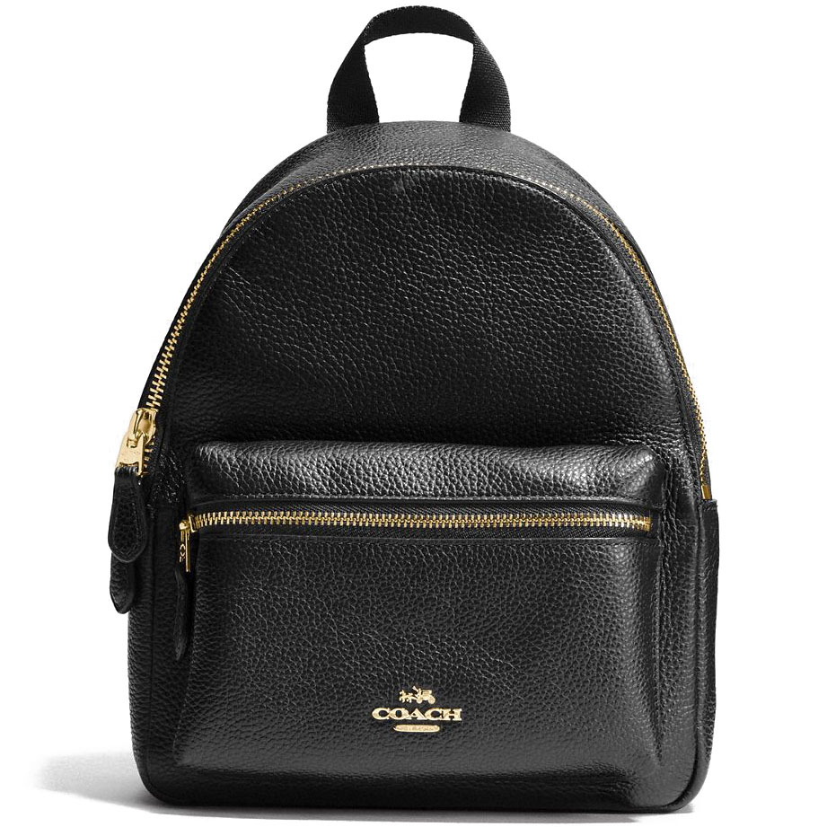 Coach Mini Charlie Backpack In Pebble Leather Gold / Black # F38263