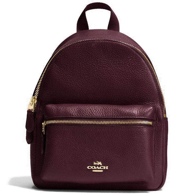 Coach Mini Charlie Backpack In Pebble Leather Gold / Oxblood Dark Red # F38263