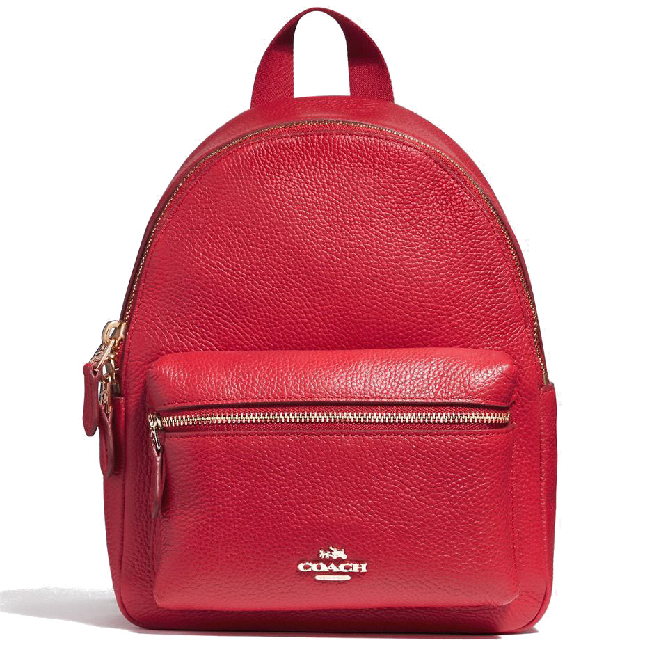 Coach Mini Charlie Backpack In Pebble Leather Light Gold / True Red # F38263