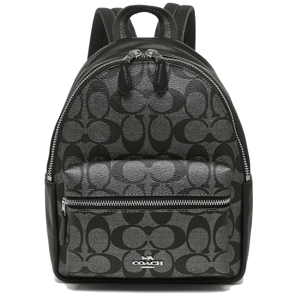 Coach Mini Charlie Backpack In Signature Canvas Gunmetal / Silver # F39511