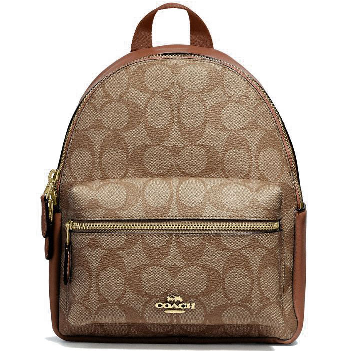 Coach Mini Charlie Backpack Khaki / Saddle Brown 2 / Gold # F58315