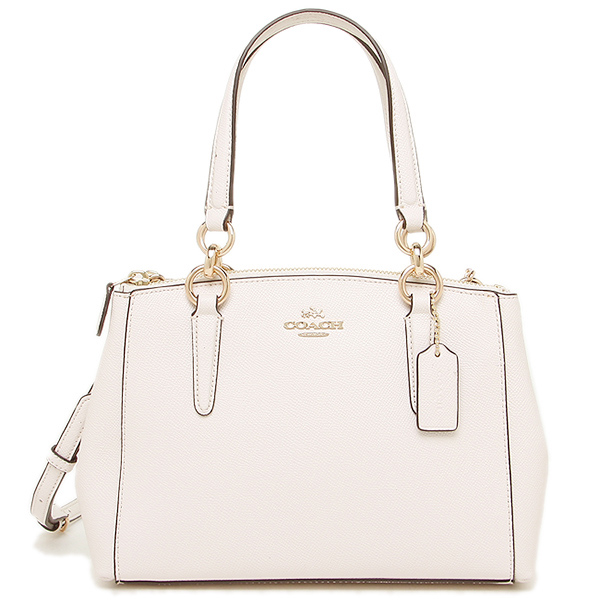 Coach Mini Christie Carryall In Crossgrain Leather Chalk White # F57523
