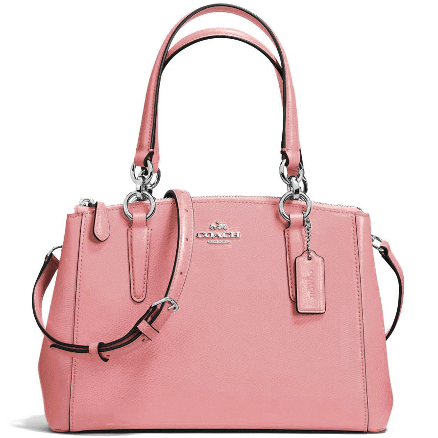 Coach Mini Christie Carryall In Crossgrain Leather Silver / Blush # F57523