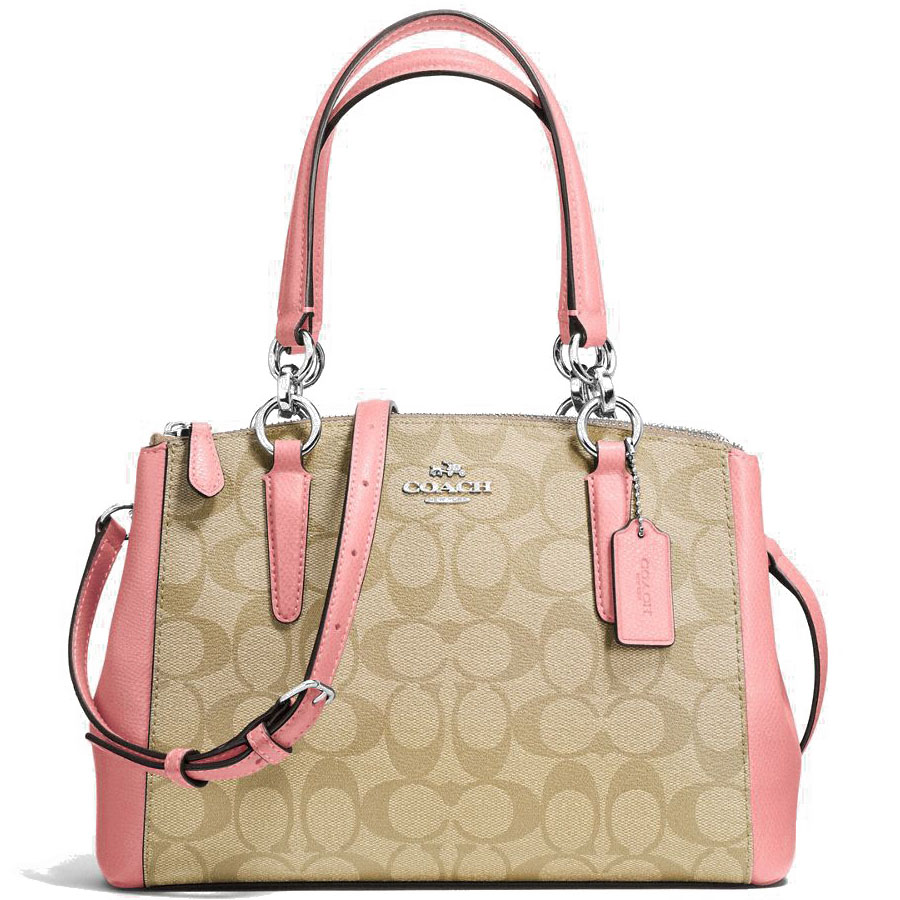 Coach Mini Christie Carryall In Signature Coated Canvas Crossbody Bag Light Khaki Brown / Blush Pink # F58290