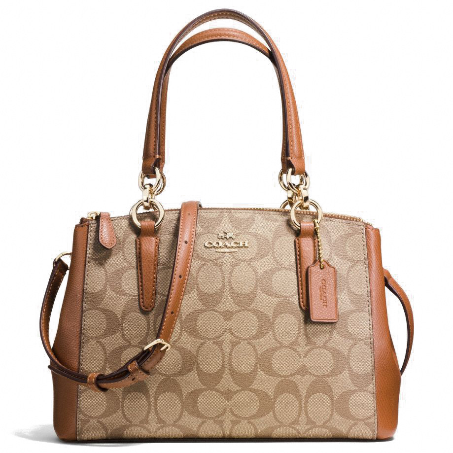 Coach Mini Christie Carryall In Signature Khaki / Saddle Brown # F58290
