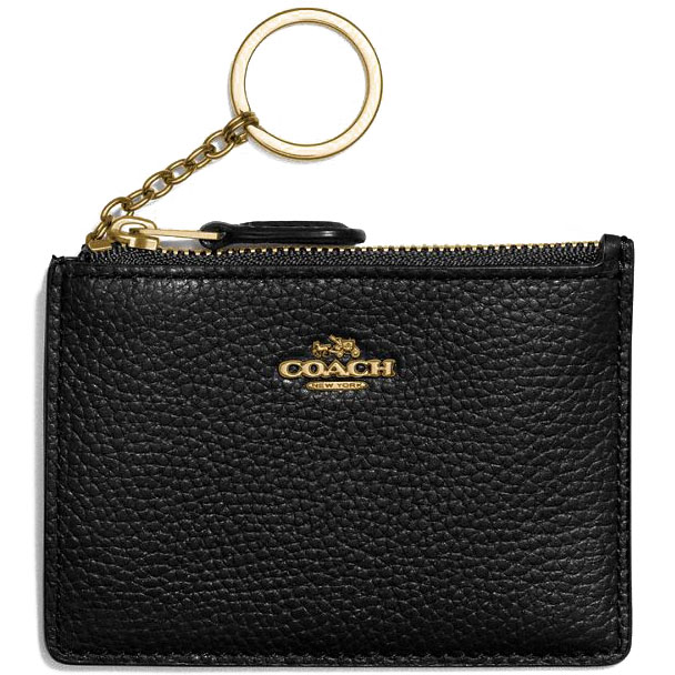 Coach Mini Id Skinny Key Ring Black # 14469B