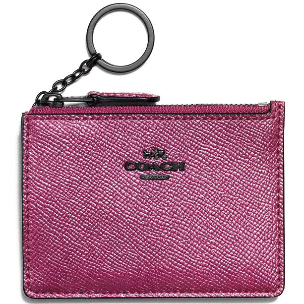 Coach Mini Id Skinny Key Ring Metallic Mauve Pink # 87077