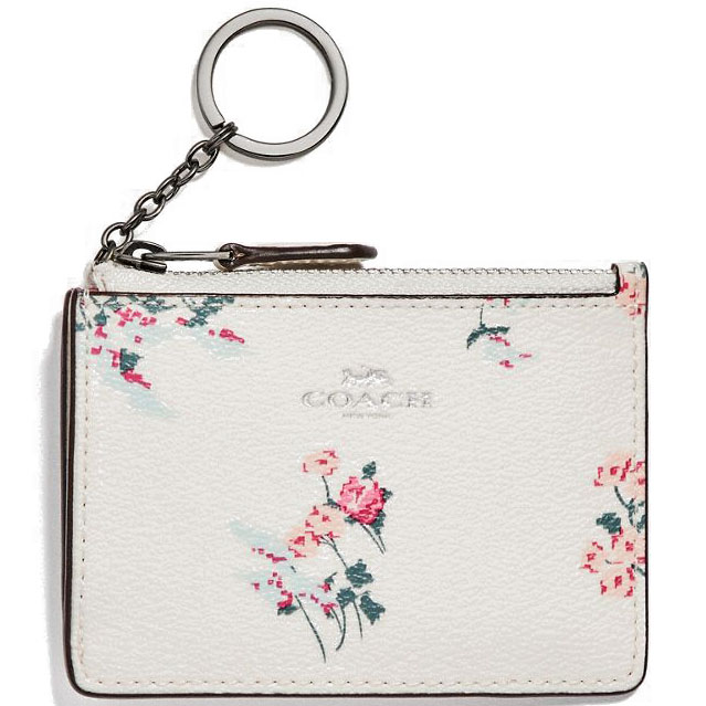 Coach Mini Id Skinny With Cross Stitch Floral Print Silver / Chalk Multi # F26218