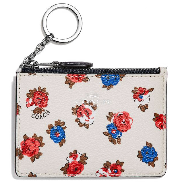 Coach Mini Id Skinny With Tea Rose Floral Print Chalk White / Silver # F31247