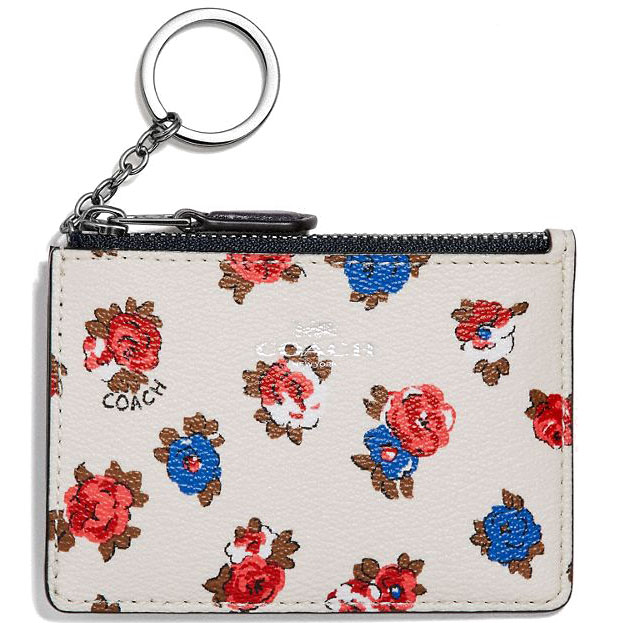 Coach Mini Id Skinny With Tea Rose Floral Print Tearose Chalk White # F31247