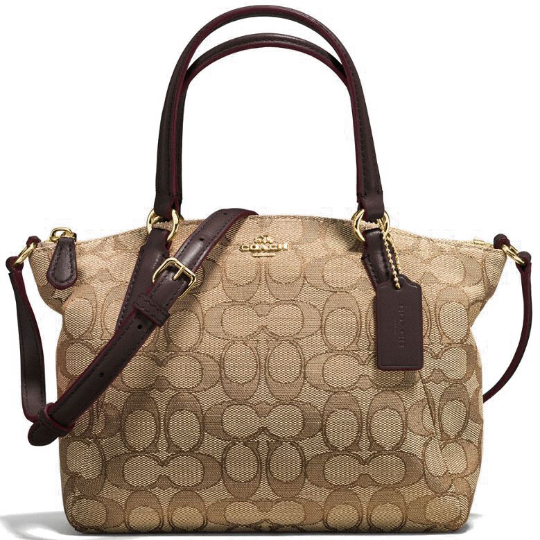 Coach Mini Kelsey Satchel In Outline Signature Gold / Khaki / Brown # F57830