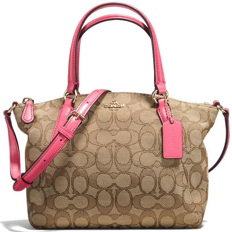 Coach Mini Kelsey Satchel In Outline Signature Gold / Khaki Strawberry # F57830