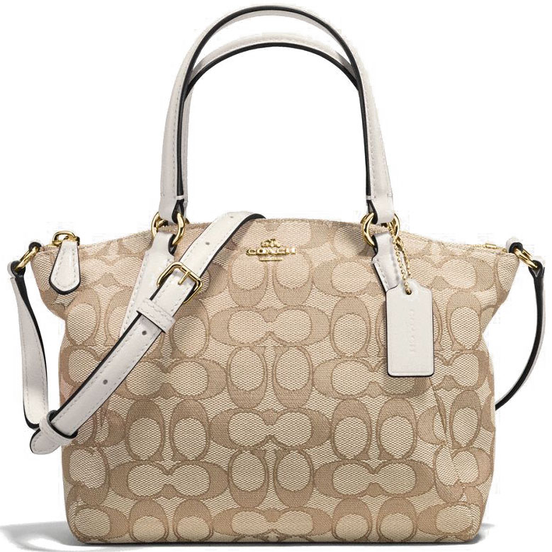 Coach Mini Kelsey Satchel In Outline Signature Light Khaki Brown / Chalk White # F57830