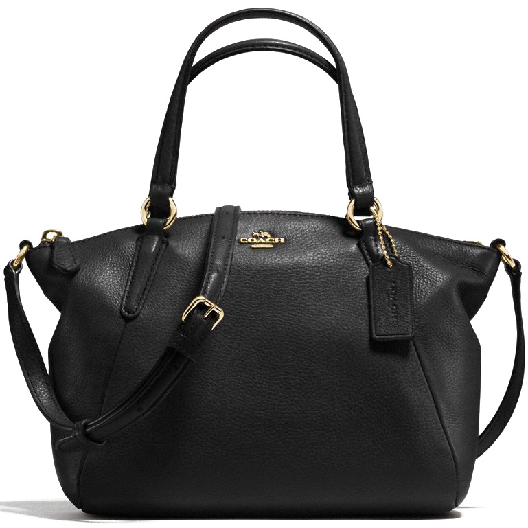 Coach Mini Kelsey Satchel In Pebble Leather Gold / Black # F57563