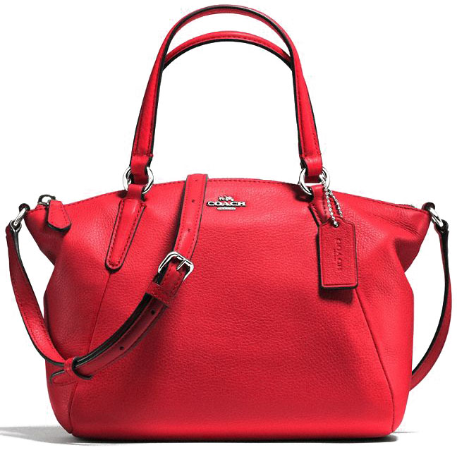Coach Mini Kelsey Satchel In Pebble Leather Silver / Bright Red # F57563