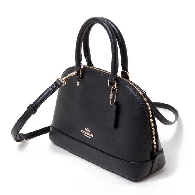 1f118f1cfbf13 Coach Mini Sierra Satchel In Crossgrain Leather Gold   Black   F57555