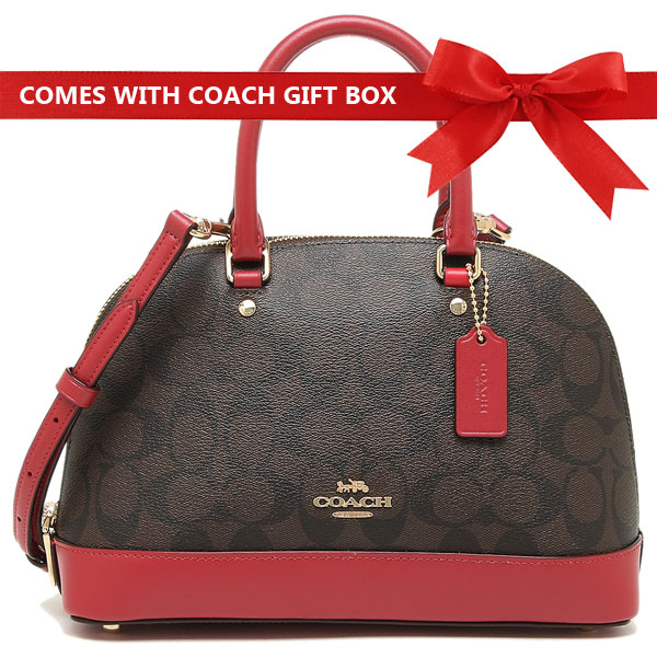 Coach Mini Sierra Satchel In Signature Canvas Brown / True Red / Gold # F27583