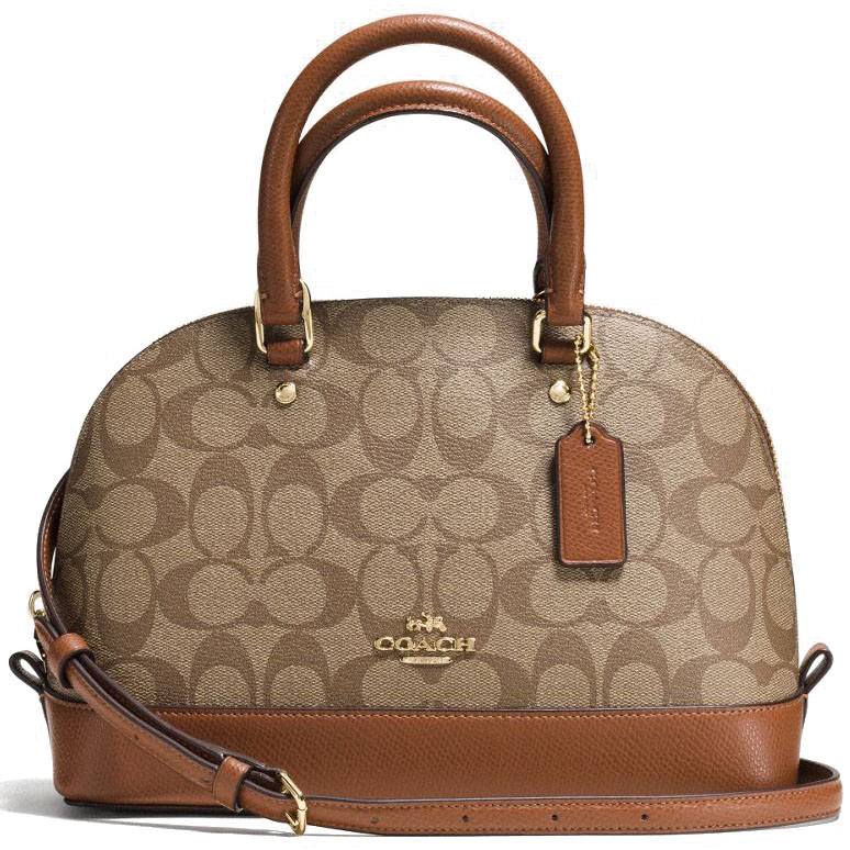 Coach Mini Sierra Satchel In Signature Crossbody Bag Saddle Brown / Khaki # F37232