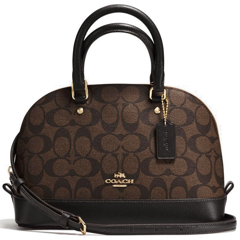 Coach Mini Sierra Satchel In Signature Gold / Black / Brown # F58295