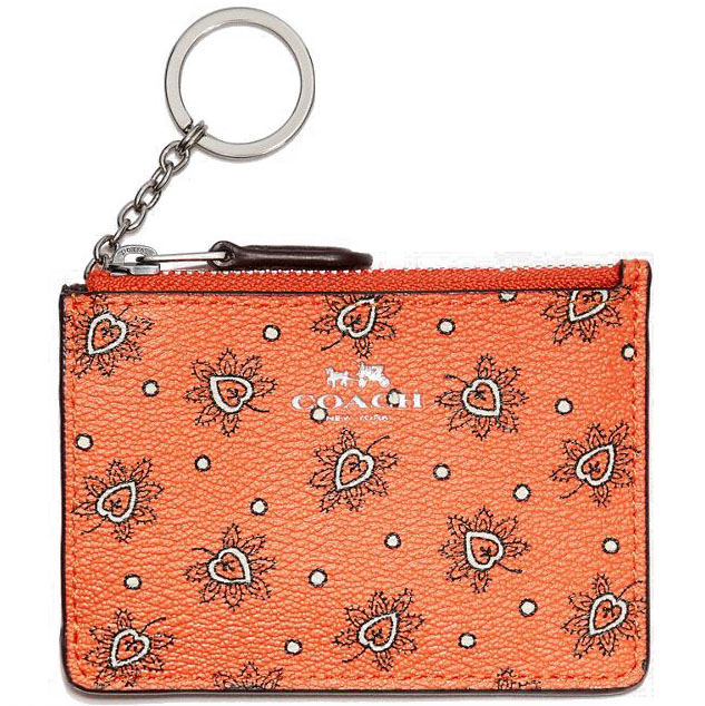 Coach Mini Skinny Id Case In Forest Bud Print Coated Canvas Silver / Coral Multi # F11849