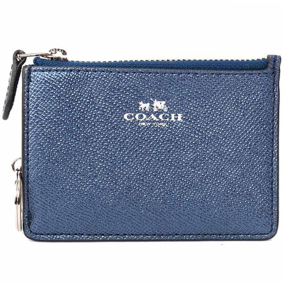 Coach Mini Skinny Id Case In Metallic Crossgrain Leather Metallic Navy Blue # F21072