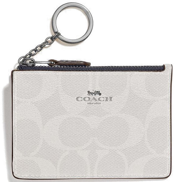 Coach Mini Skinny Id Case In Signature Coated Canvas Chalk White / Midnight Dark Blue # F16107
