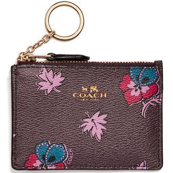 Coach Mini Skinny Id Case In Wildflower Print Coated Canvas Light Gold / Oxblood # F12555