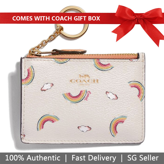 Coach Mini Skinny Id Case With Allover Rainbow Print Chalk White / Light Coral # F73465