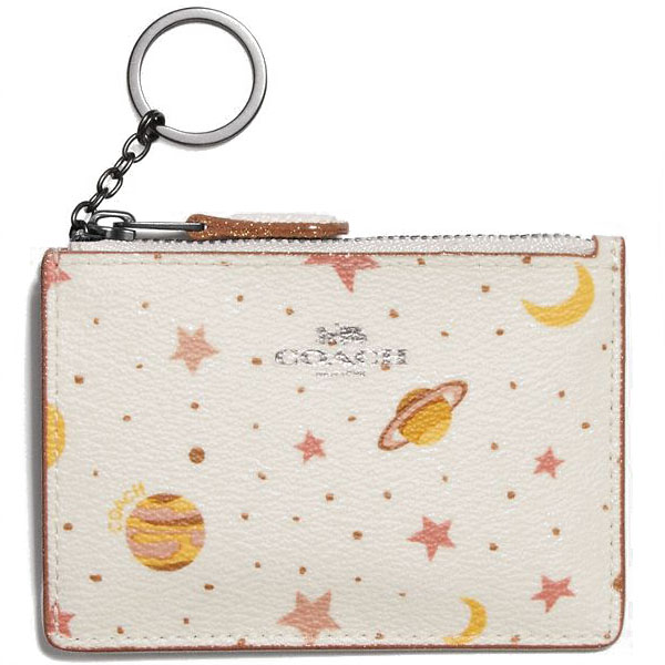Coach Mini Skinny Id Case With Constellation Print Chalk White Multi / Black Antique Nickel # F30059