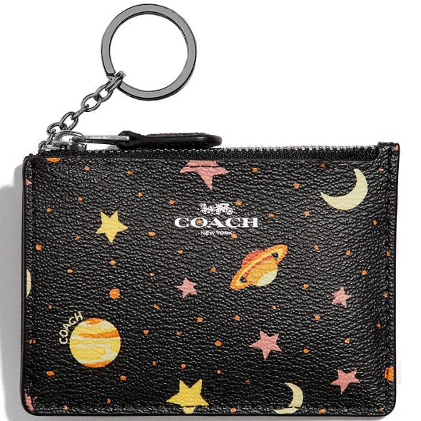Coach Mini Skinny Id Case With Constellation Print Black / Multi / Silver # F30059