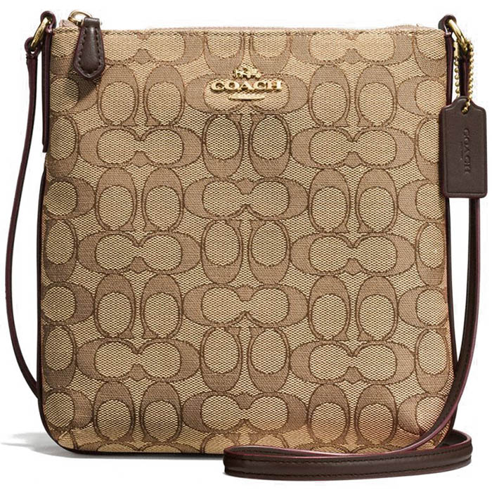 Coach North / South Crossbody In Outline Signature Jacquard Gold / Khaki / Brown # F58421