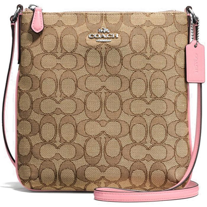 Coach North / South Crossbody In Outline Signature Jacquard Khaki Brown / Blush Pink # F58421