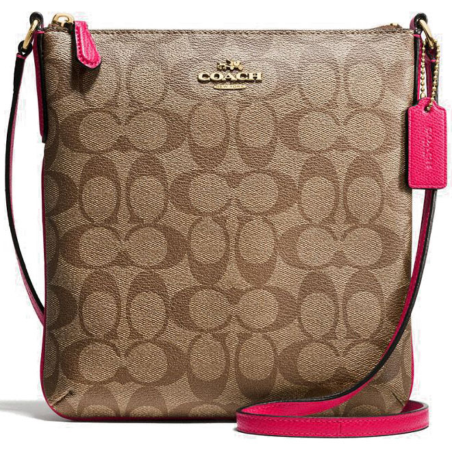 Coach North / South Crossbody In Signature Gold / Khaki / Bright Pink # F58309