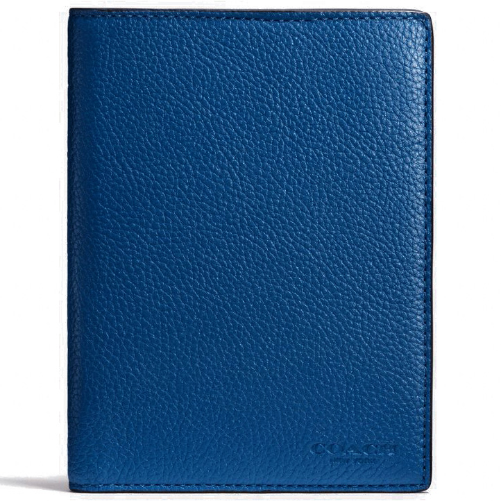 Coach Passport Case In Refined Pebble Leather Denim Blue # 93462
