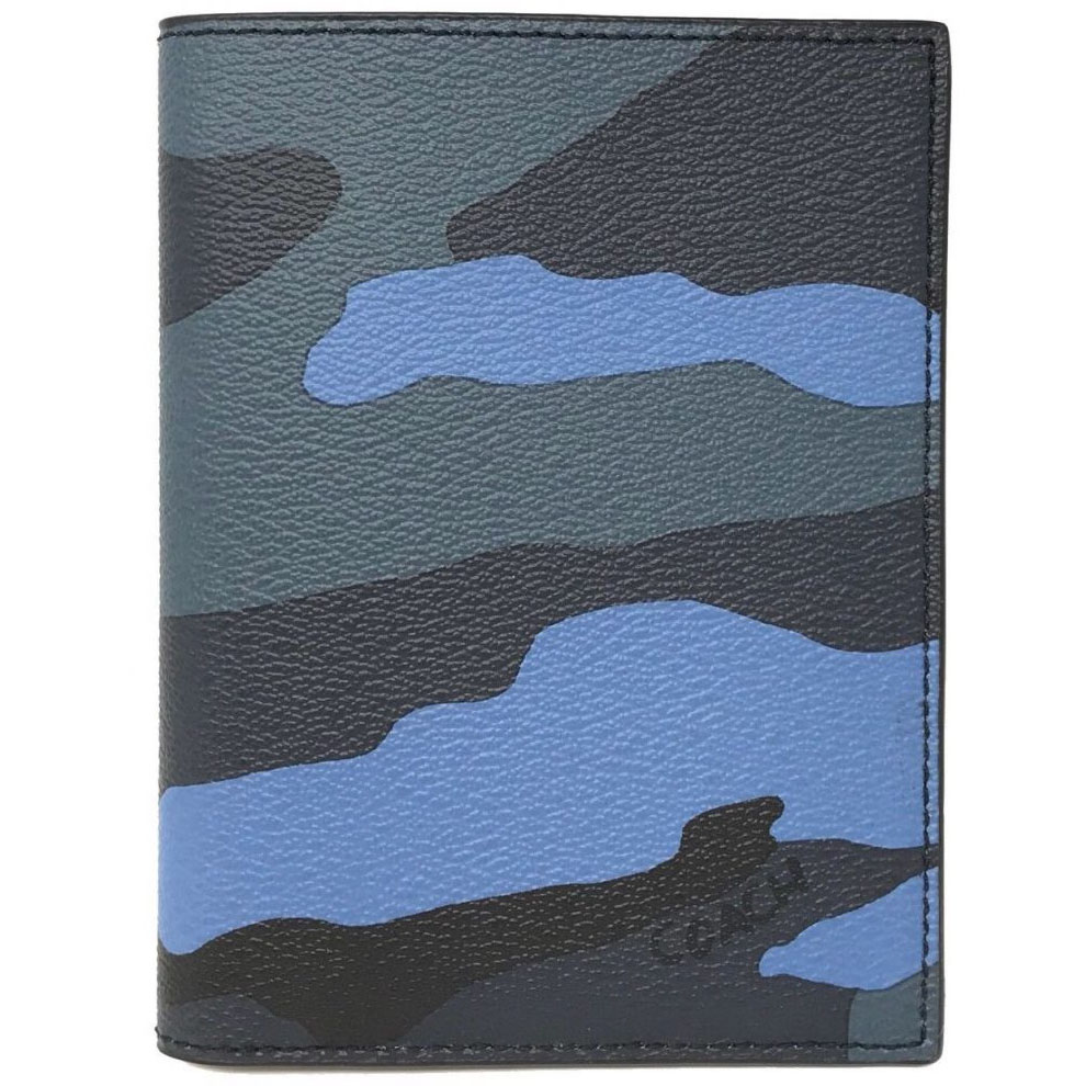Coach Passport Case With Camo Print Blue Multi # F32751