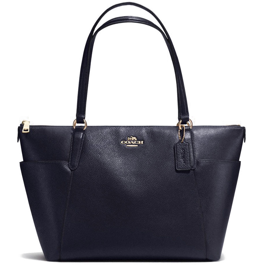 Coach Pebble Leather Ava Tote Midnight Navy # F37216