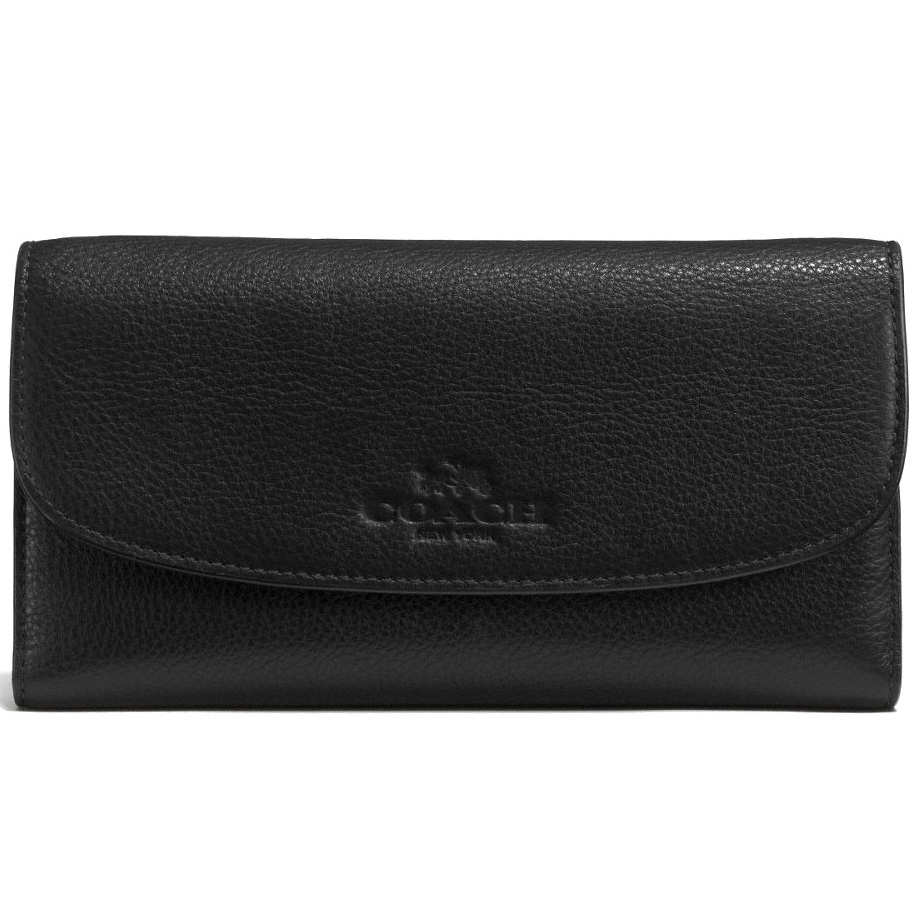Coach Pebble Leather Checkbook Wallet Black # F52715