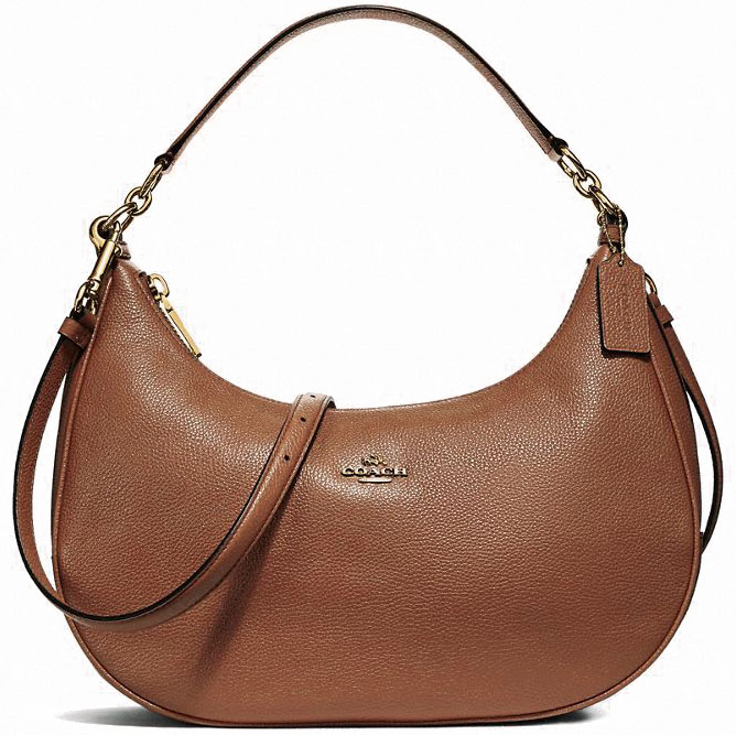 Coach Pebble Leather Harley East / West Hobo Crossbody Shoulder Bag Saddle Brown Brown 2 / Gold # F38250