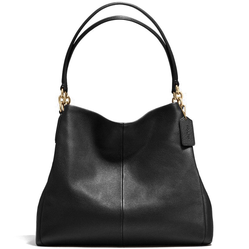 Coach Pebble Leather Phoebe Shoulder Bag Black # F35723