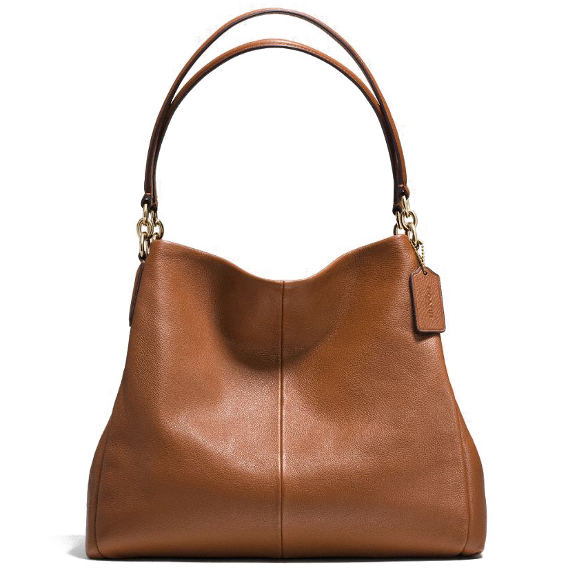 Coach Pebble Leather Phoebe Shoulder Bag Saddle # F35723