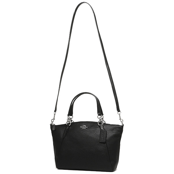 Coach Pebble Leather Small Kelsey Satchel Crossbody Shoulder Bag Black    Silver   F36675 63da673f46