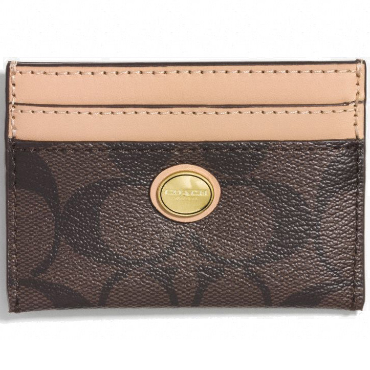 Coach Peyton Signature Card Case Brown / Tan # F62861