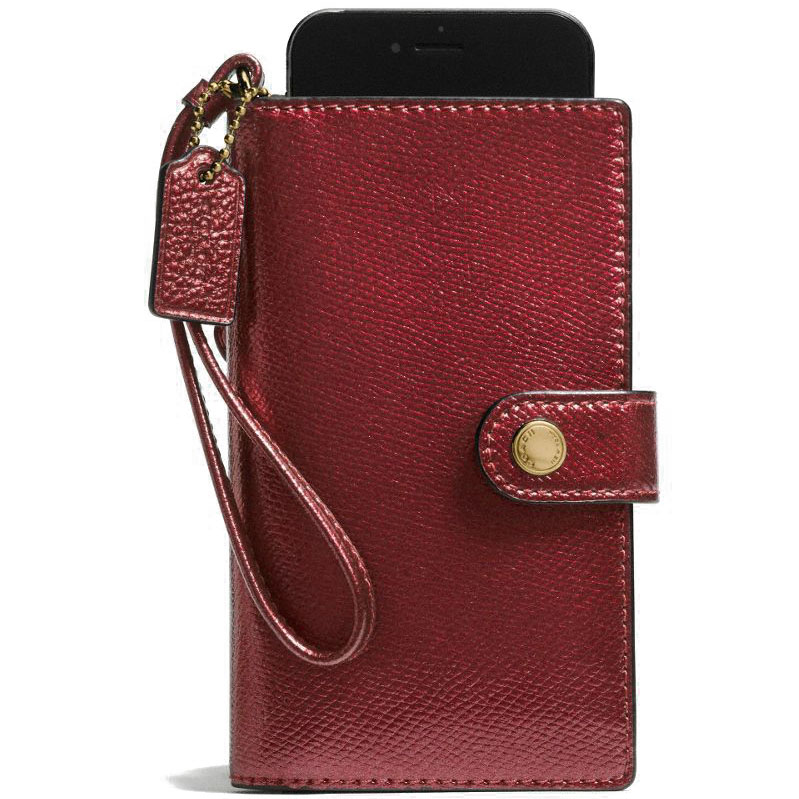 Coach Phone Clutch In Crossgrain Leather Gold / Metallic Cherry # F53977