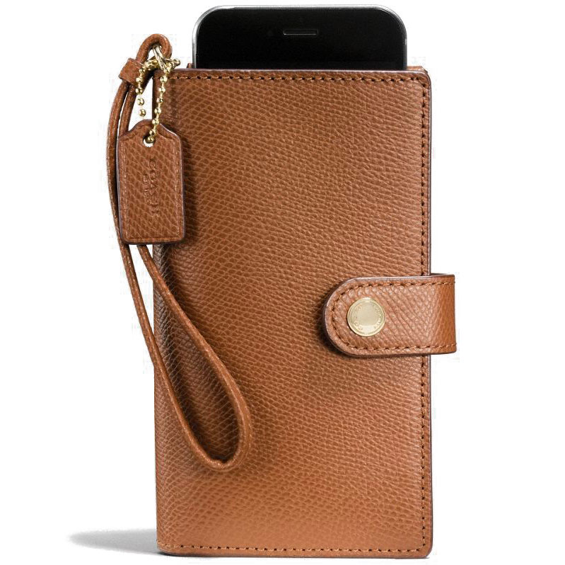 Coach Phone Clutch In Crossgrain Leather Gold / Saddle Brown # F53977