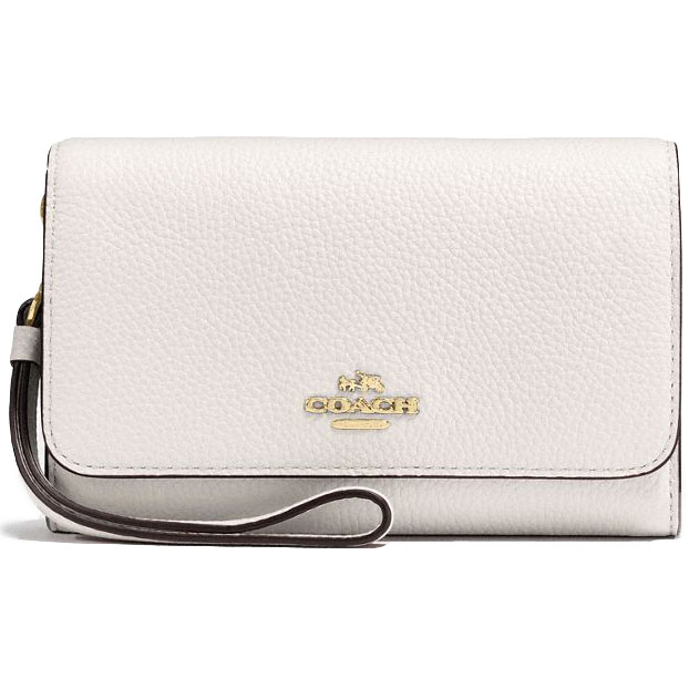 Coach Phone Clutch In Polished Pebble Leather Chalk White # 16115B