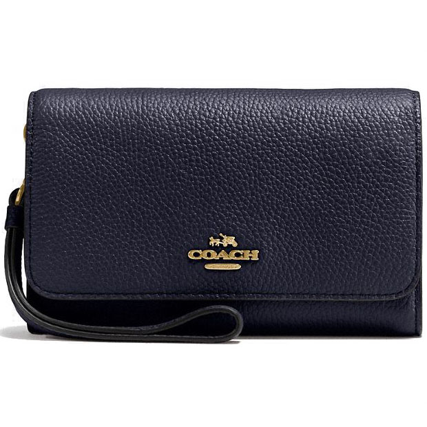 Coach Phone Clutch In Polished Pebble Leather Gold / Navy Blue # 16115B